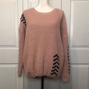 • Pink Cable Knit Sweater w/ Faux Leather Lacing •